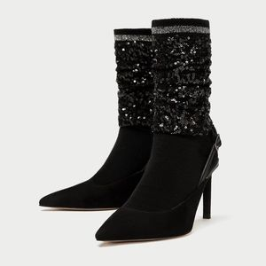 NWT Zara sequined sock style slingback courts